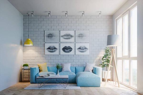 Thiết kế sơn phòng khách màu xanh dương